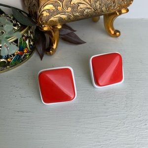 Vintage Red And White Square Geometric Earrings